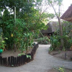 Hutjes middenin een grote tuin