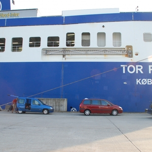 de vrachtboot van de THOR line waarmee we uit Gent  naar Noorwegen reisden